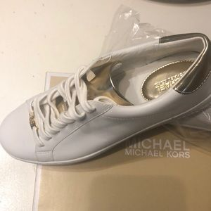 Michael Kors White & Gold Sneakers